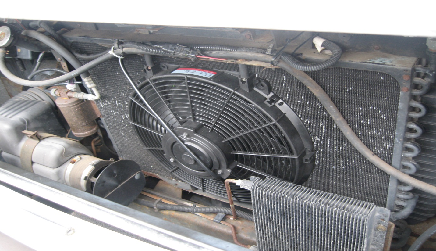 the radiator fan blows air through the radiator core